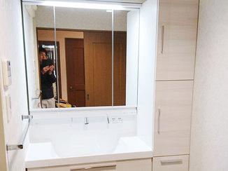 洗面リフォーム 広くなった収納とボウルが使いやすい洗面台
