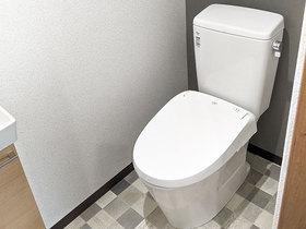 トイレリフォーム補助金を利用してリフォームした、ゆったり使える従業員用トイレ